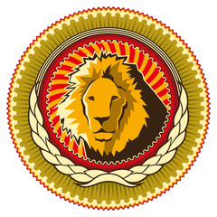 Illustrated colorful emblem with lion.