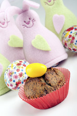muffin decorated with easter egg