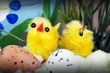 Easter setting with chicks and eggs