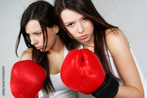 studio shot of female boxer