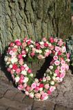 Heart shaped sympathy floral arrangement poster