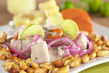 Peruvian-style ceviche made out of raw mahi-mahi fish