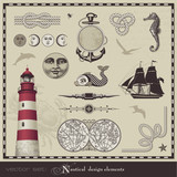 Fototapety vector set: nautical design elements
