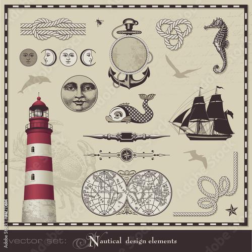 vector set: nautical design elements