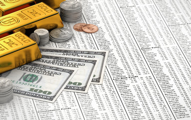 Finance concept with gold bars, coins and dollar bills