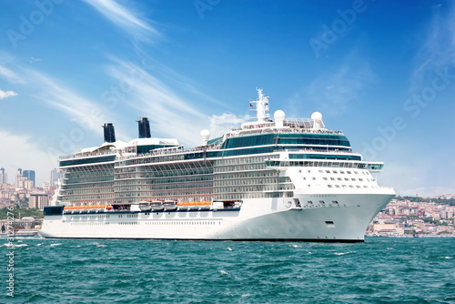 Luxury cruise ship sailing Bosporus waters