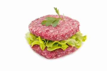 Fresh hamburgers with lettuce