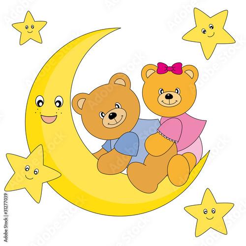 Plexiglas Beren Osos sentados encima de la luna