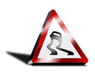 3D Road Sign - Car Swerving