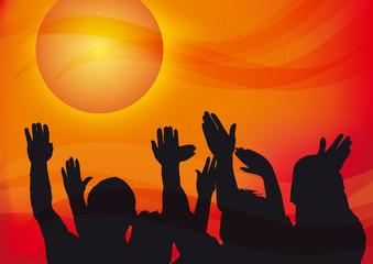 mani alzate al cielo, illustrazione emotiva