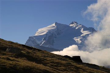 Monte Rosa peak in morning
