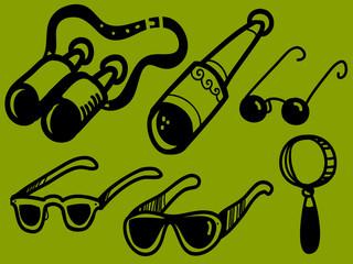 Set of optical instruments, glasses, binoculars, telescope