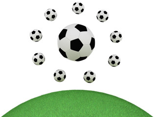 Soccer balls isolated on white background, green grass