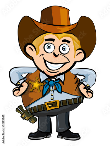 Foto Spatwand Wild West Cute cartoon cowboy smiling
