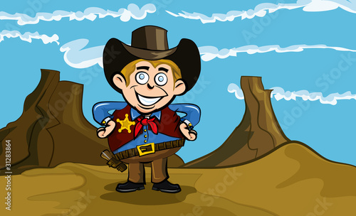 Spoed canvasdoek 2cm dik Wild West Cute cartoon cowboy smiling