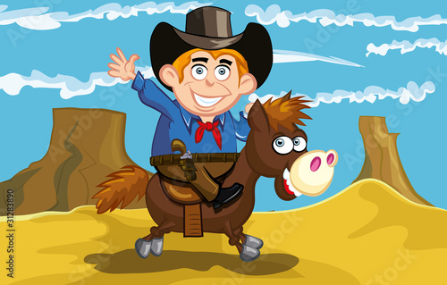 Spoed canvasdoek 2cm dik Wild West Cartoon cowboy on a horse