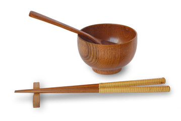 Chopsticks with wooden bowl isolated on white