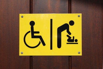 Disabled and baby changing sign