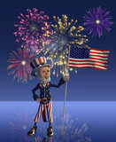 Uncle Sam Celebrates the Fourth of July - 3d render poster
