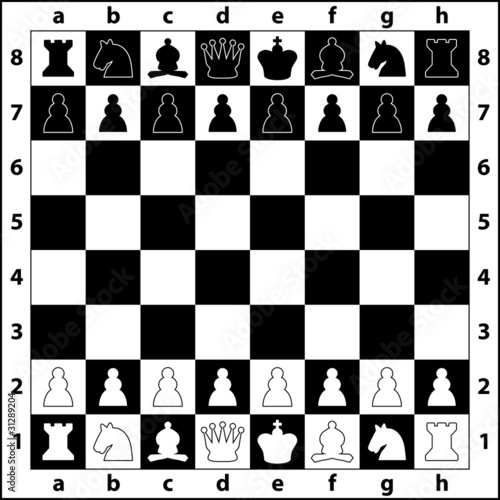 the starting positions of the chess pieces on the chess board - 31289204