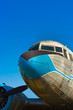 Close up view of a propeller airplane
