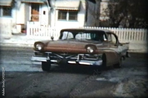 Woman Driving 1957 Ford Meteor (Vintage 8mm film)