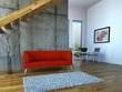 Loft mit rotem Sofa und Esszimmer
