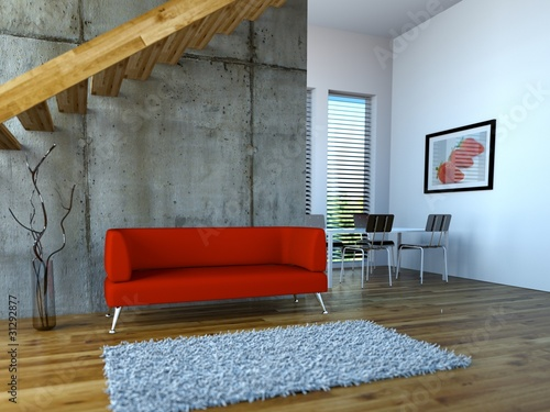 loft mit rotem sofa und esszimmer stockfotos und lizenzfreie bilder auf bild. Black Bedroom Furniture Sets. Home Design Ideas