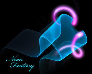 Neon fractal on black