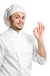 positive chef with ok sign isolated