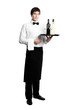Waiter sommelier with bottles of wine and stemware on tray