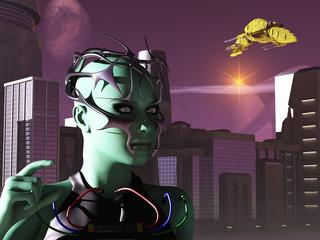 Sci-fi female on alien world