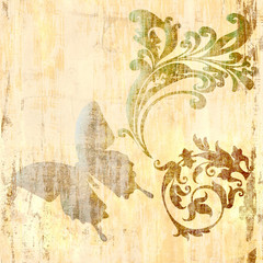 vintage decorative background with butterfly