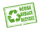 reuse, reduce and recycle stamp poster