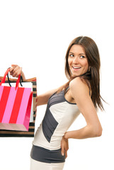 Happy Beautiful woman brunette with shopping bags