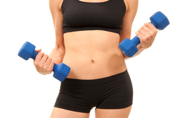 Woman working out with blue dumbbells weights