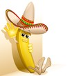 Banana Cartoon Mexico Sombrero-Vector