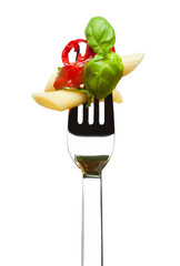 penne arrabbiata on fork isolated