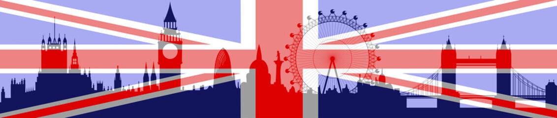 London skyline with flag - vector