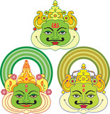 Masks used in Kathakali, the Famous dance-drama of Kerala