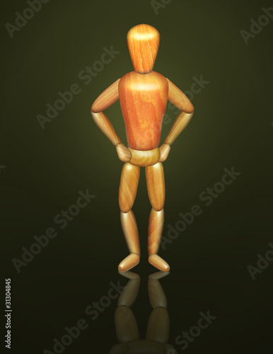 Wood Drawing Doll in Confident Pose