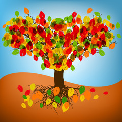 autumn tree drawing with colorful leafs. EPS 8