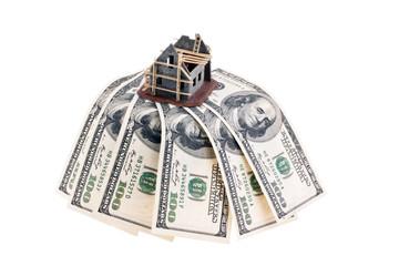 Dollar Geldscheine und Rohbau