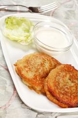 potato pancakes with the sour cream