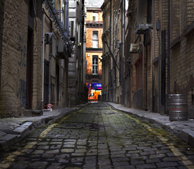 Looking down a long dark back alley © sas