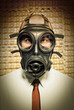 businessman with gas mask