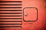 grunge retro RV body panel and fuel filler cap poster