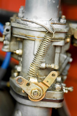 vintage RV engine carburetor closeup