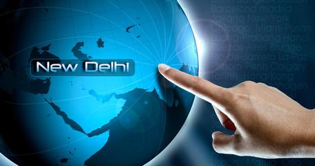 city on globe New Delhi