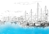 Sailing yachts and boat illustration